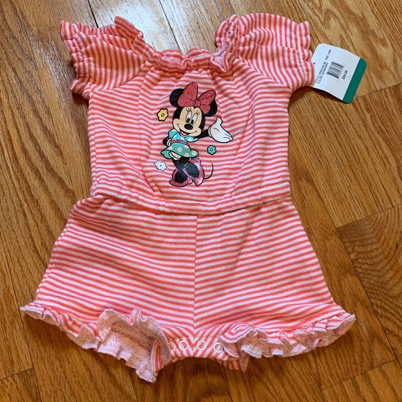 Disney Baby Girls Minnie French Terry Romper